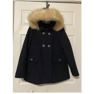 TOPSHOP Dark Navy Fur Hood Coat